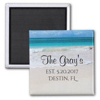 Beach Shore with turquoise water and blue sky Square Magnet