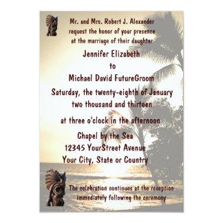 Beach Shoreline Tiki Wedding Card