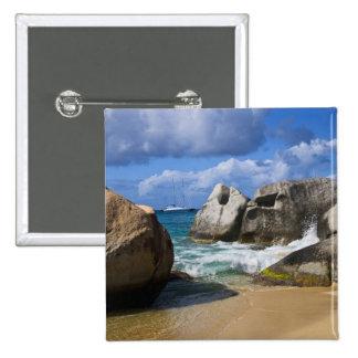 Beach side at Virgin Gorda, British Virgin 15 Cm Square Badge