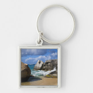 Beach side at Virgin Gorda, British Virgin Silver-Colored Square Key Ring