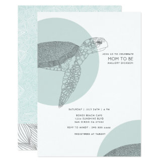 Beach Side Turtle Baby Shower | Baby Boy Card