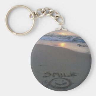 beach smile basic round button key ring