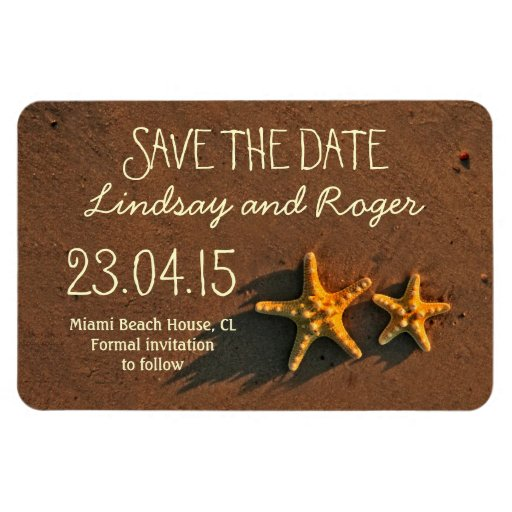 beach starfish couple save the date magnets