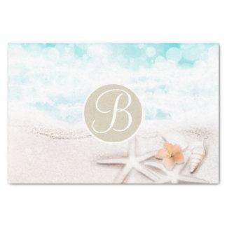 Beach Starfish Elegant Monogram Letter Initial Tissue Paper