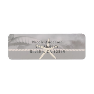 Beach Starfish Grey Chic Elegant Invitation Return Address Label