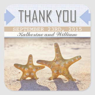 beach starfish pretty thank you stickers