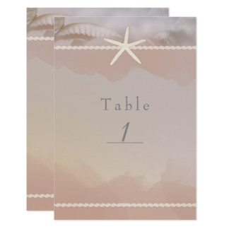 Beach Starfish Taupe Tan Chic Table Number Card