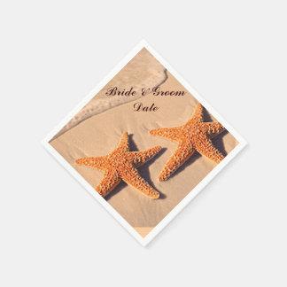 Beach Starfish Wedding Paper Napkins