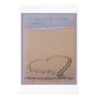 Beach Stationary Heart in Sand Customized Stationery
