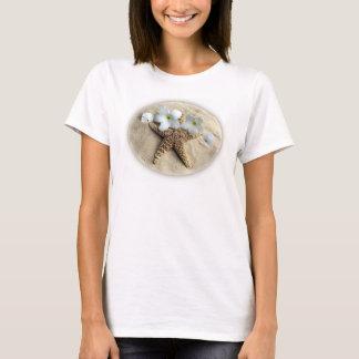 Beach Still Life - Starfish, Sand Dollar, Plumeria T-Shirt