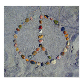 Beach Stone Peace Sign Poster
