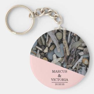 Beach Stones Driftwood Wedding Key Ring