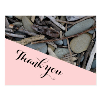 Beach Stones Driftwood Wedding Thank you. Postcard