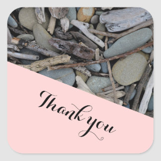 Beach Stones Driftwood Wedding Thank you. Square Sticker
