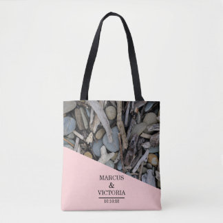 Beach Stones Driftwood Wedding Tote Bag