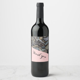 Beach Stones Driftwood Wedding Wine Label