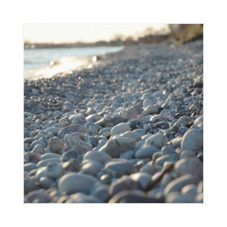 Beach Stones Water Glowing Evening Light Serene Stretched Canvas Print
