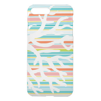 Beach Stripes and Coral iPhone Clear Case