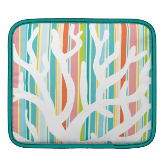 Beach Stripes and Coral Sleeve For iPads