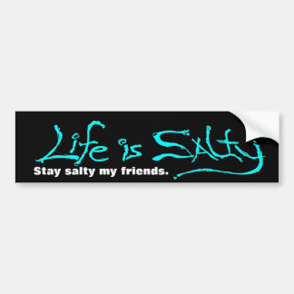 BEACH STYLE BUMPERSTICKER LIFE IS SALTY! BUMPER STICKER