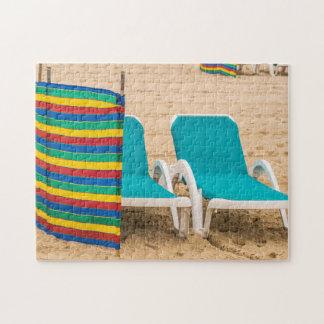Beach sun loungers photo puzzle