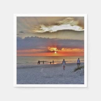 Beach Sunset and White Sand Disposable Serviette