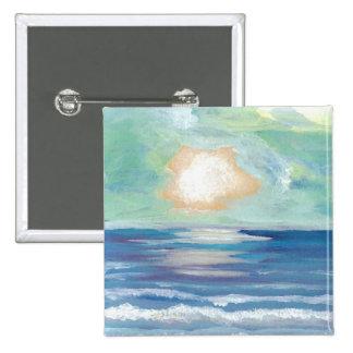 Beach Sunset - CricketDiane Ocean Art 15 Cm Square Badge