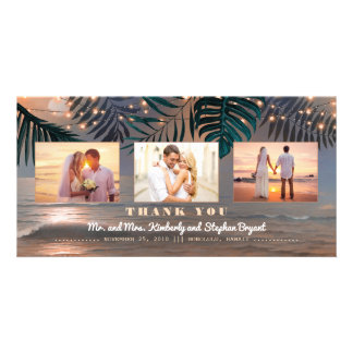 Beach Sunset Destination Wedding Thank You Card