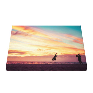 Beach Sunset Fun Canvas Gallery Wrapped Canvas