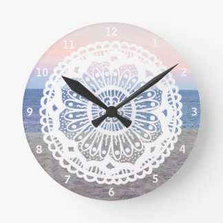 Beach Sunset Mandala Round Clock