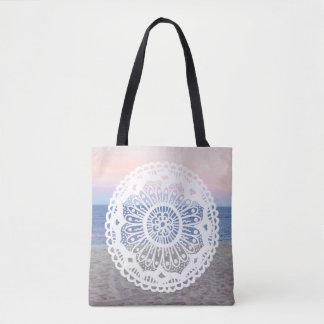 Beach Sunset Mandala Tote Bag