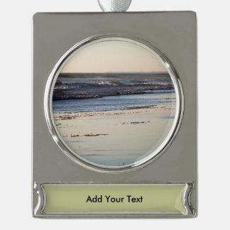 Beach Sunset Ormond Beach Silver Plated Banner Ornament