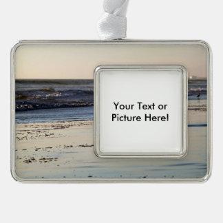 Beach Sunset Ormond Beach Silver Plated Framed Ornament