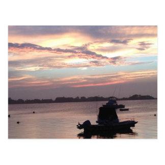 Beach Sunset over Boat Serene Photo Postcard