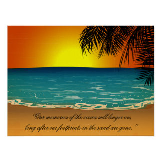 Beach Sunset Palm Trees Beach Quote Print