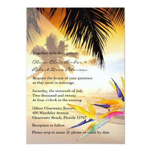 Beach Sunset Palm Trees Bird-of-Paradise Wedding 11 Cm X