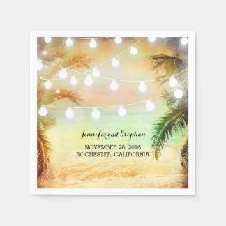 Beach Sunset Palms and String Lights Wedding Disposable Serviettes