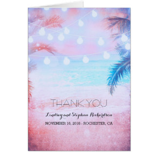 Beach Sunset Pastel Wedding Thank You cards