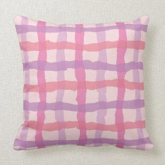 Beach Sunset Pink and Purple Gingham Cushion