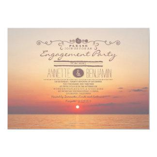 Beach sunset romantic modern engagement party 13 cm x 18 cm invitation card