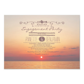 Beach sunset romantic modern engagement party card