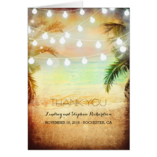 Beach Sunset Romantic Wedding Thank You cards