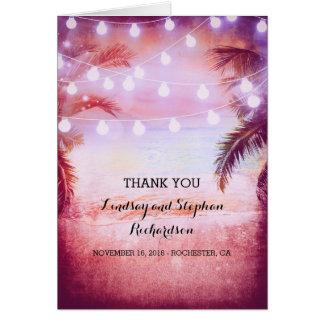 Beach Sunset Romantic Wedding Thank You cards