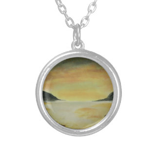 Beach Sunset Round Pendant Necklace