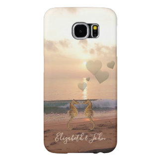 Beach,Sunset Seahorses In Love -Personalized