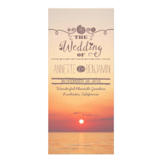 Beach sunset seaside wedding program card rack card design
