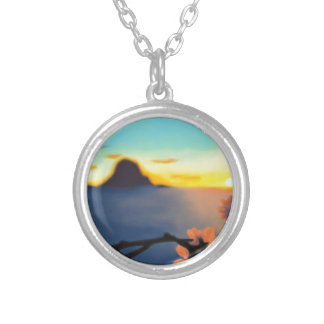 Beach Sunset Silver Plated Necklace