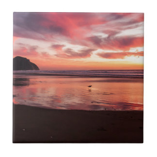 Beach Sunset Small Square Tile