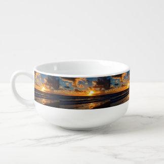 Beach sunset soup mug