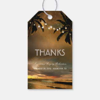Beach Sunset String Lights Palms Wedding Gift Tags